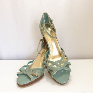 Seychelles Turquoise/Gold Stacked Heel Sandals